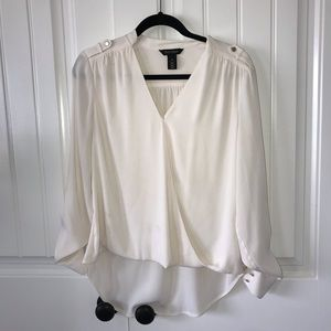 womens white v-neck blouse
